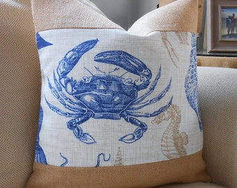 Blue crab burlap coastal pillow cover 18x18