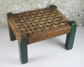 Vintage Green Stool with Woven Seat / Footstool / Primitive