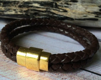 Brown Braided Double Strand Leather Bracelet with Magnetic Clasp, Leather Bangle, Gold Clasp and Brown Leather, Mens Leather Bracelet,Unisex
