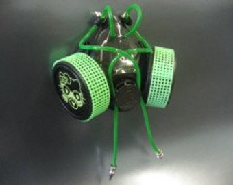 Green Lace Cyber Gas Mask Kitten Respirator