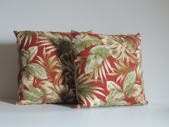 Decorative Pillows Tropical : TWO DECORATIVE PILLOWS Tropical print and Stripe Indoor