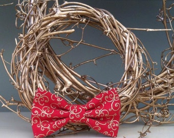 Dog Bow / Bow Tie - Red w Gold Swirl