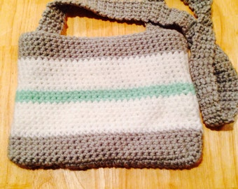 Crochet teal white and grey purse