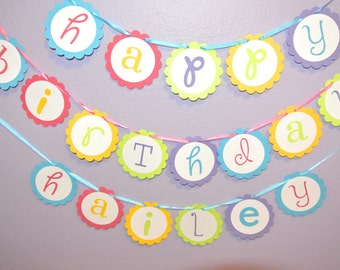 Rainbow Happy Birthday Name Banner, blue,pink,green,yellow,purple.Made with high quality cardstock