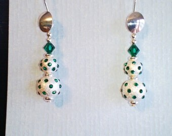 Sterling Silver Dangle Earring with Emerald Swarovski Crystals