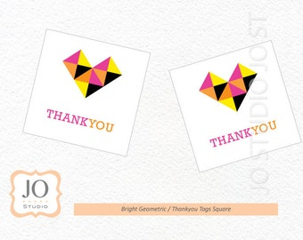 Bright Geometric Favour Tags / Thankyou Tags / Watercolor Birthday / Wedding - INSTANT DOWNLOAD