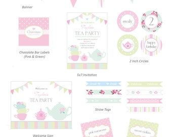 Complete Printable Collection for a Vintage Tea Party / High Tea Birthday Party