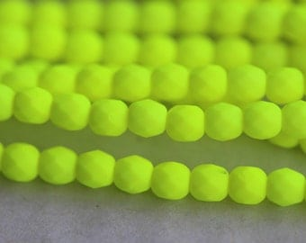 50 Neon Yellow, 3mm Faceted Round Czech Glass Fire Polished Beads FP-3M-3