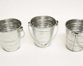 Set of 3 Galvanized Bucket w/ Handle 1 Qt
