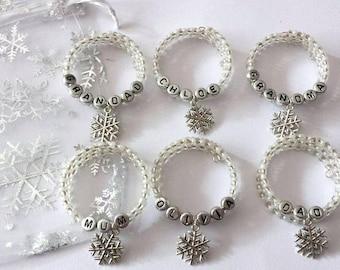 Set of 6 personalised Christmas napkin rings in gift bag