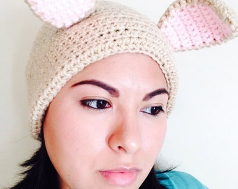 HANDMADE Crocheted Adult Bunny Beanie with Cottontail