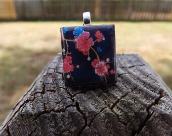 Scrabble Tile Necklace - Floral, Flowers