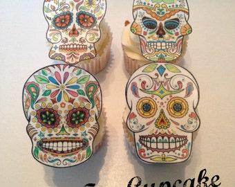 Edible Sugar Skull Cupcake Toppers