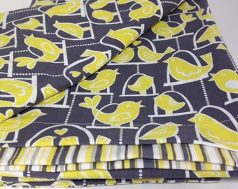 Ready to ship Toddler or Crib Duvet  Michael Miller Grey Citron Bird Swing and yellow stripe