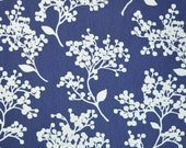 White Berry Home Decor Fabric, Designer Fabric, Cotton,  Blue and White Fabric, Berries, Upholstery Fabric, By the Yard