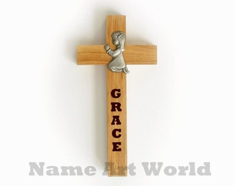 Personalize Wooden cross with Praying Girl figurine -easy to mount