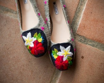 Handmade embroidered flats