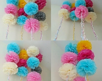 wedding party baby shower hanging ceiling decorations TISSUE PAPER pom poms shop window displays garland