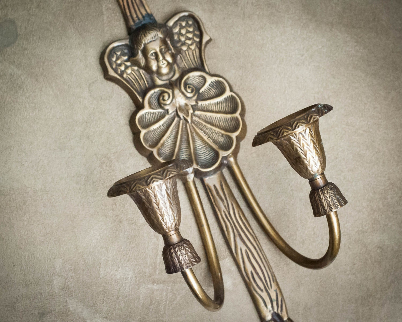 Brass Cherub Wall Sconces : Vintage Brass Cherub Wall Sconce Candle Holder by WindstoneVintage