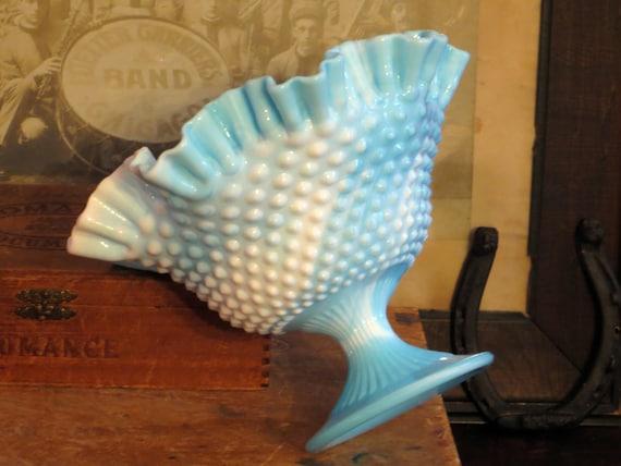 Vintage Fenton Blue Slag Marble Hobnail By Bluerovervintage