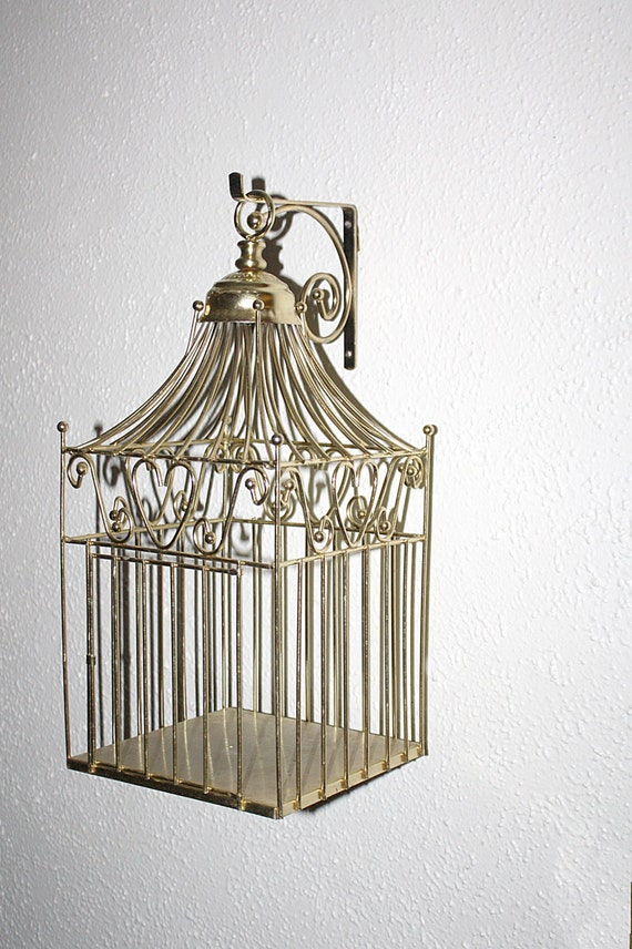 Vintage Metal Bird Cage Metal Wall Bracket By Queenieseclectic