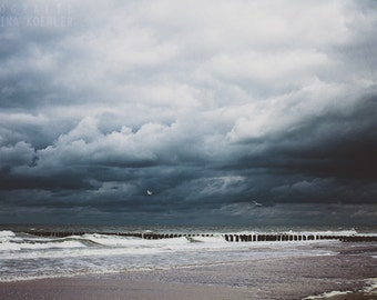 STORMY SEAS photography print, dramatic beach in storm landscape, 8x12