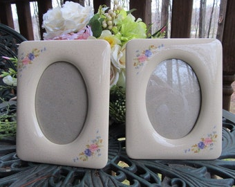 Two 5X7 Glass/Porcelain Picture Frames with Painted Flowers
