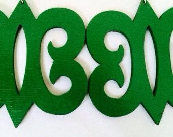 Green Adinkra symbol earrings
