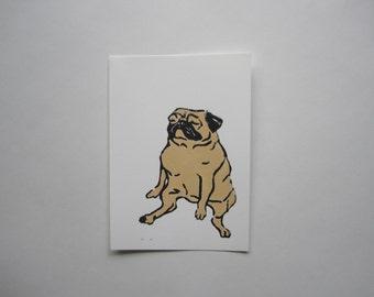 Fawn Pug Linocut Print, Pug Print, Fawn Pug Art by Amber Maki