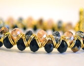 Golden Champagne, Bronze, and Jet Black Faceted AB Shimmer Crystal Chain Maille Inspired Bead Bracelet