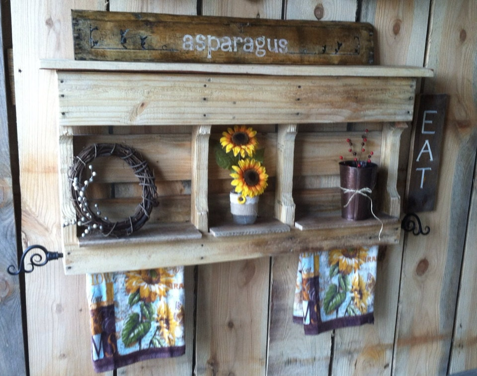 pallet shelf rustic kitchen decor by sawmillcreations on etsy
