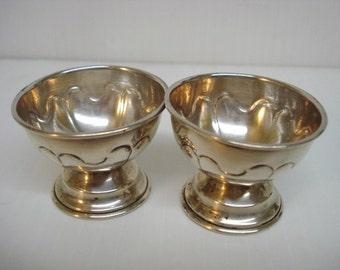 Classic Sterling Salt and Pepper Cellars  Set of  2  Vintage Sterling Silver