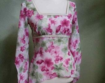 Vintage 60s Floral Blouse