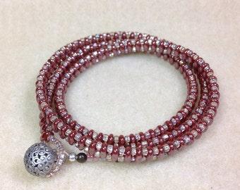 Rose Luster Super Duo Wrap Bracelet, Three Times Wrap Bracelet, Beaded Wrap Bracelet