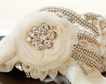 Swarovski Bridal Sash, Bridal belt, wedding sash, wedding dress belt, wedding dress sash, champage bridal sash - Style S29 ( Made to Order)