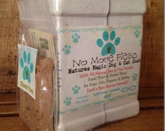 New for Dog & Cat Families Organic All Natural Flea Powder Treatment, Repellent  14 Oz