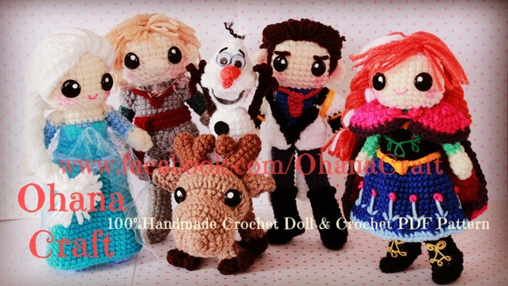 Ohana Craft's Frozen amigurumi patterns on Etsy