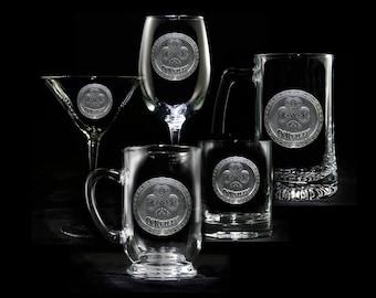 Logo Engraved Glassware, Bar Glasses (Set of 2)