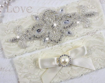 MADRID - Pearl Wedding Garter Set, Lace Garter, Rhinestone Crystal Bridal Garters
