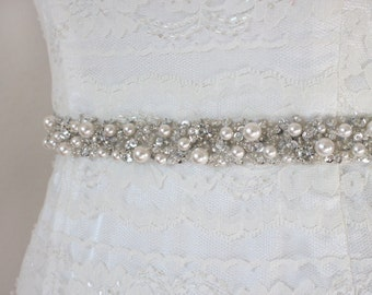 "Best Seller - MONACO - 3/4"" Swarovski Pearls Encrusted Bridal Sash, Wedding Beaded Belts, Bridal Rhinestone Crystal Belt"