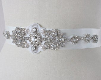 Ready To Ship - CHARISSE - Victorian Inspired Crystals And Pearls Bridal Sash, Rhinestone Bridal Belt, Wedding Beaded  Belts