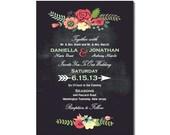 Chalkboard Wedding Invitation with Bright Flowers DIY PRINTABLE Digital File or Print (extra)