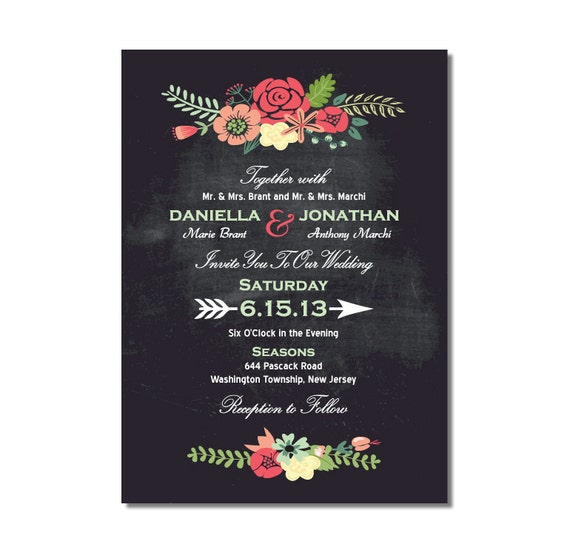 Chalkboard Wedding Invitation with Bright Flowers DIY PRINTABLE Digital File or Print (extra)
