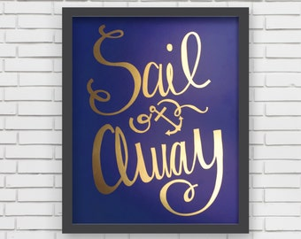 Baby Nusery Decor Art Print Nautical Navy and Gold Sail Away 8x10