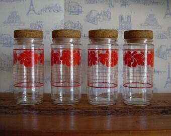 One vintage French jar , red kitchen decor, vintage housewares, glassware, retro kitchen decor , rustic farmhouse decor. .