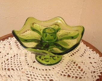 Vintage Pretty Green Glass Candle Holder- Thick Glass with Flower pedestal Shape
