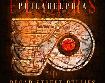 "Philadelphia Flyers ""Broad Street Bullies"" Vintage Map - Perfect Christmas, Birthday, Anniversary Gift - Unframed Print"