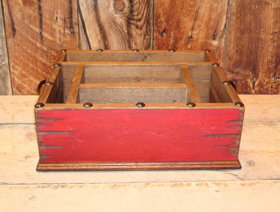 rustic red distressed with black nail heads tableware utensil. Black Bedroom Furniture Sets. Home Design Ideas