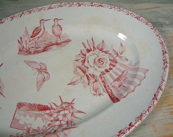 Antique french ironstone rose transferware oval serving platter. Rose /  pink transferware. French transferware