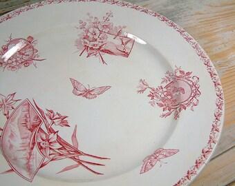 Antique french ironstone rose transferware large round serving platter. Rose red transferware. BADONVILLER model Ecran. French transferware